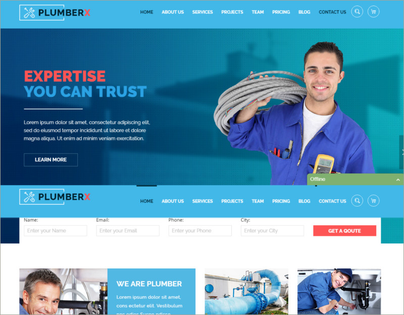 plumbing html template