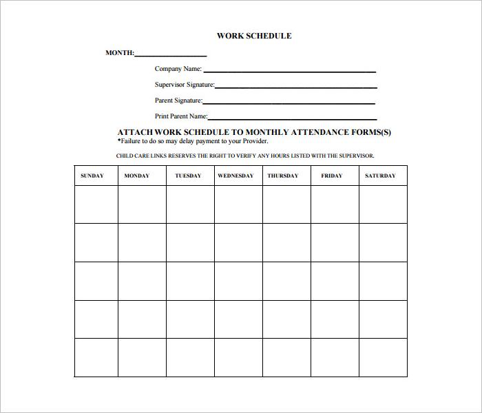 Blank Daily Work Schedule Format