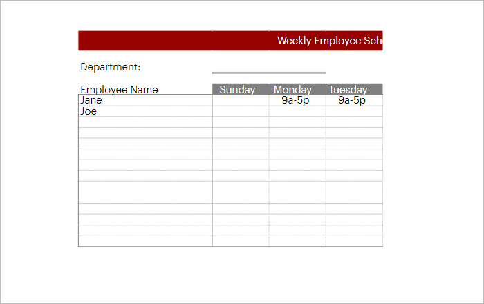 Daily Employee Work Schedule Template