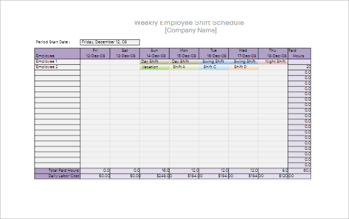 Daily Work Schedule Excel Format