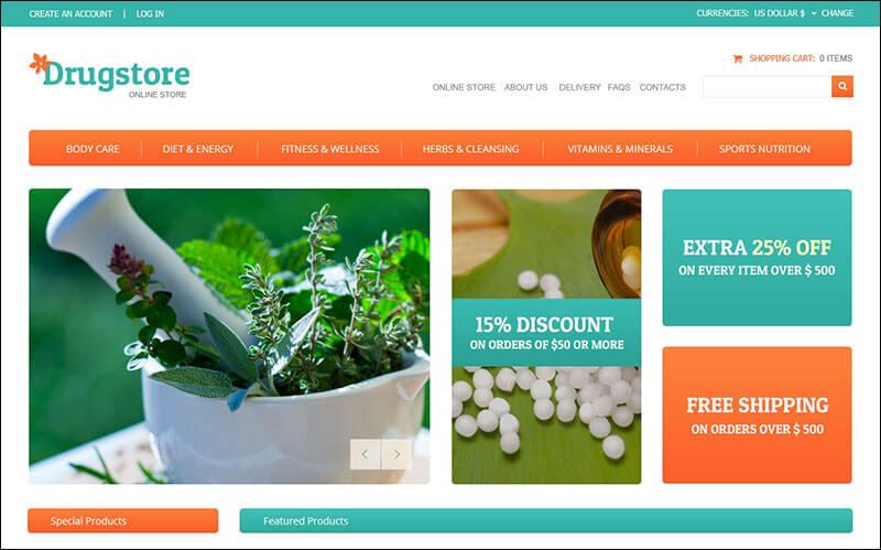 Drug Store VirtueMart Template