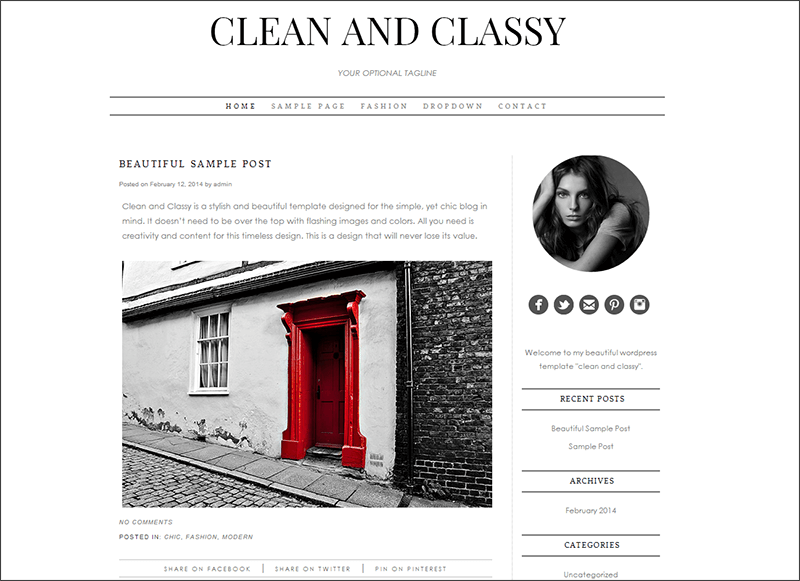 Personal WordPress Theme - Clean and Classy