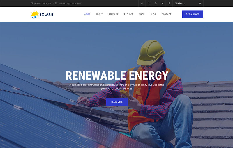 olar Environmental Energy WordPress Theme