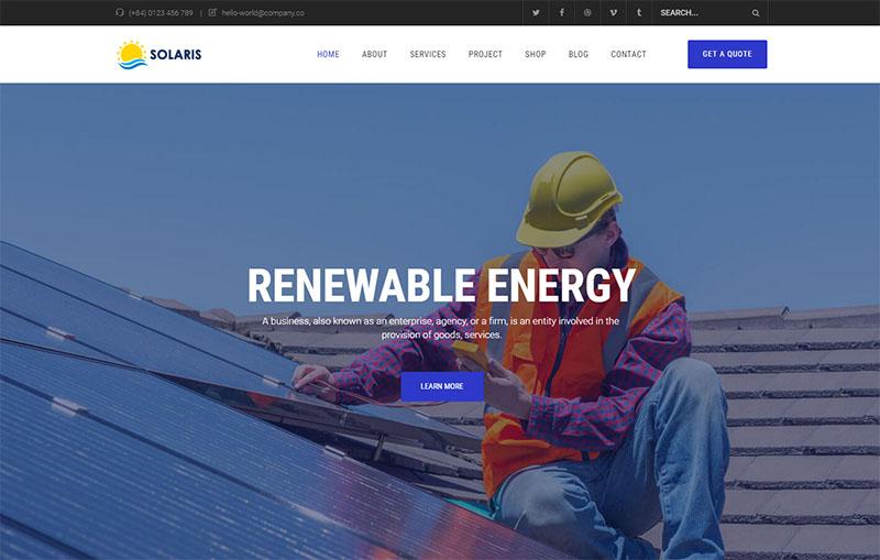 olar Environmental Energy WordPress Theme