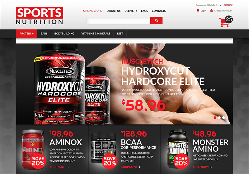 Sports Nutrition Supplements VirtueMart Template
