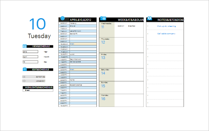 Work Schedule Planner Template