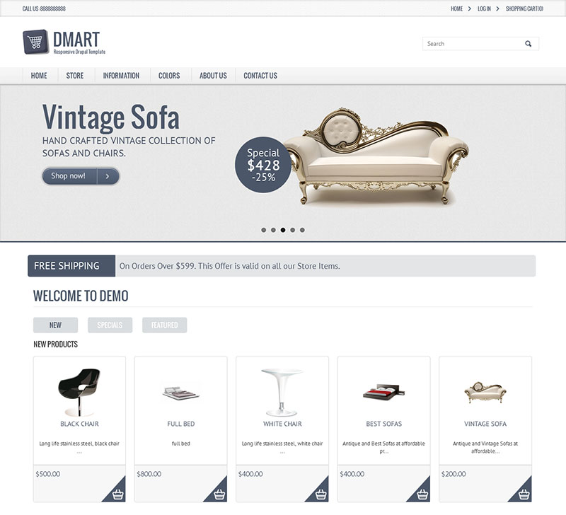 Clean & Classic Style Drupal Theme for Furniture
