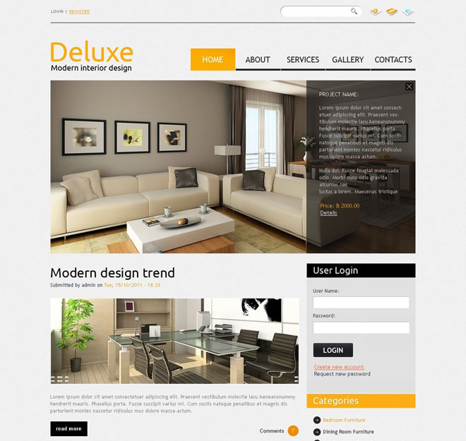 6 furniture drupal themes free website templates for Interior health employee website