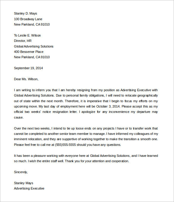 advertising-executive-two-weeks-notice-templates