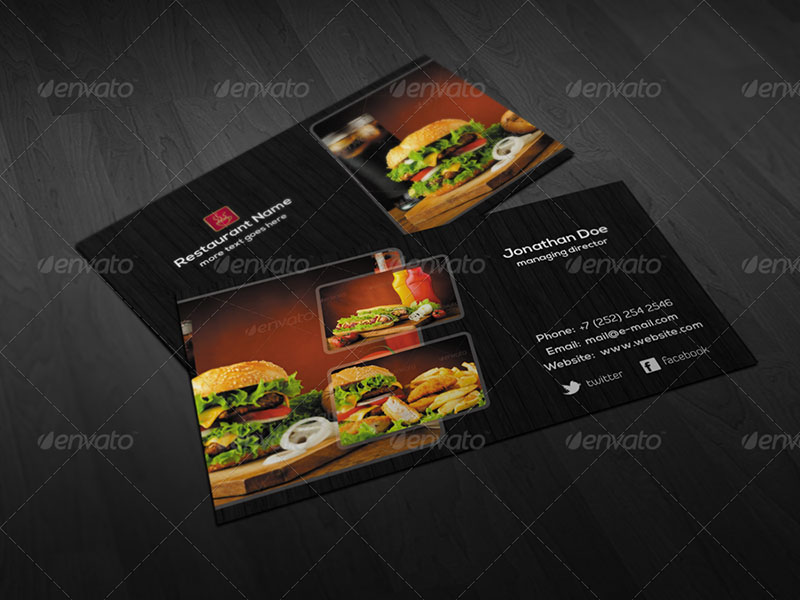Creative Restaurant Business Card PSD Template