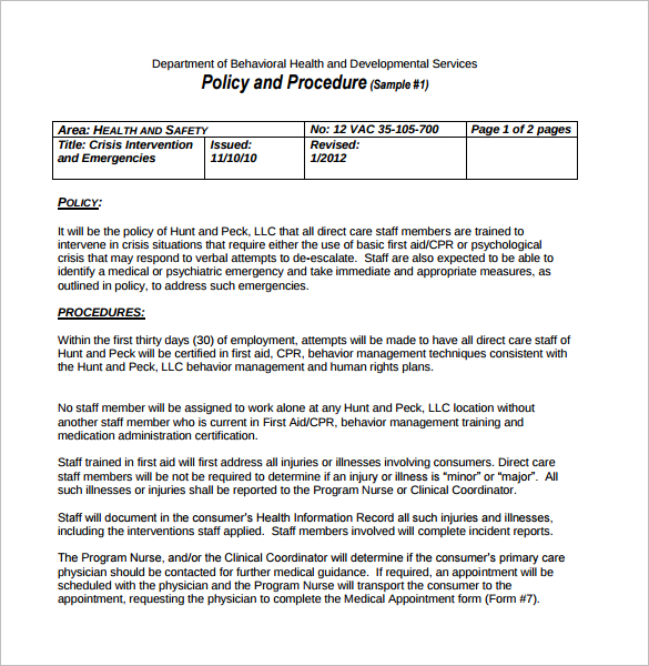 Writing Policies And Procedures Template 28 Policy And Procedure Templates Free Word PDF Download Examples