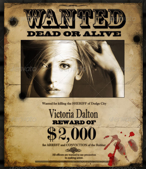 Wanted Poster Templates Free Premium Templates – Wanted Poster Template Download