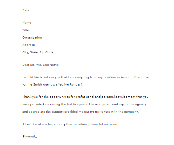 Editable Two Weeks Notice Letter Template