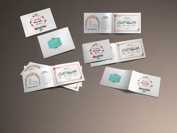 flower-decoration-bi-fold-brochure-template