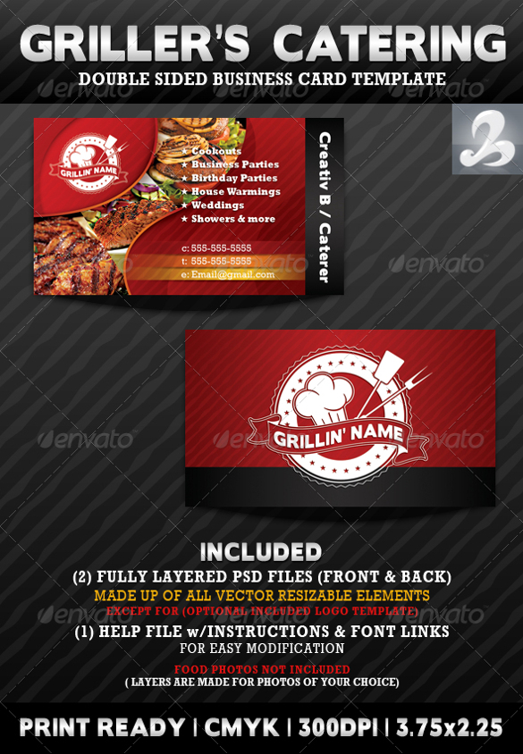 Catering Business Card Templates || Free& Premium Templates ...
