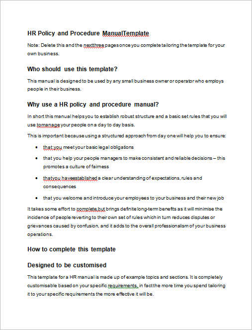 hr-policy-procedure-manual-templates
