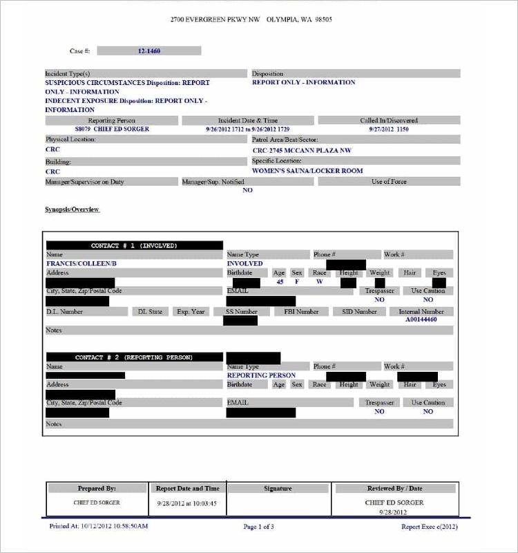 Houston Police Report Form