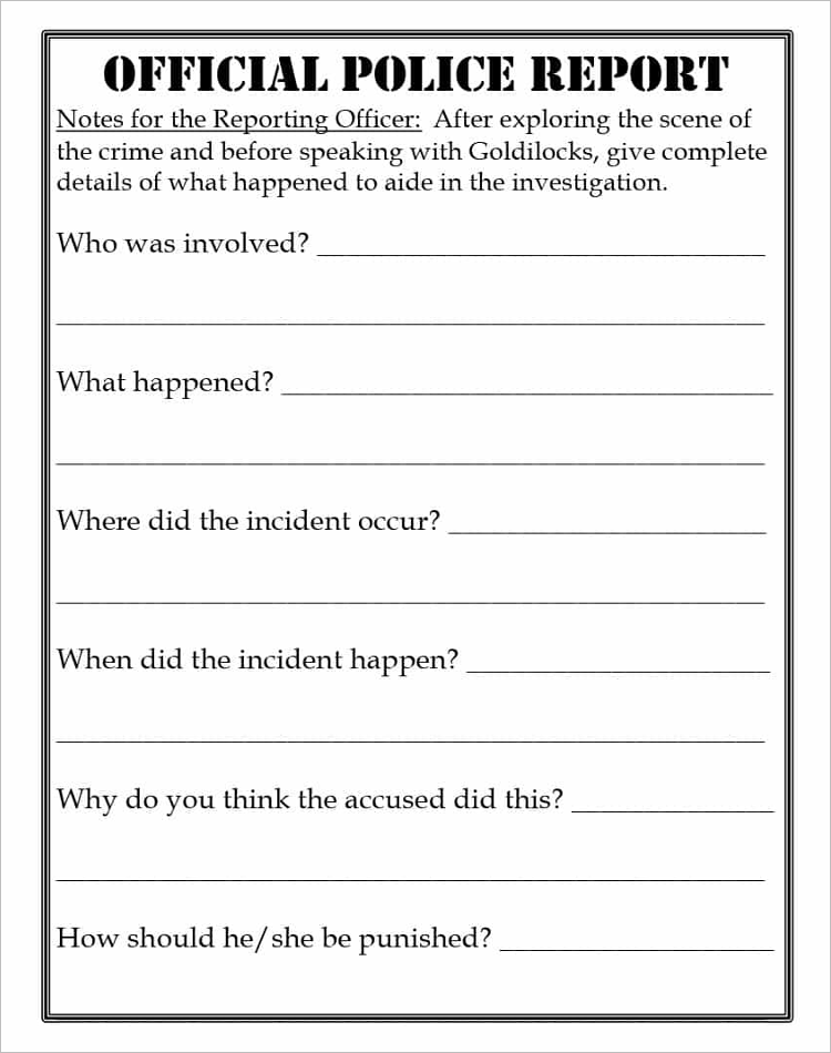 Official Police Report Template