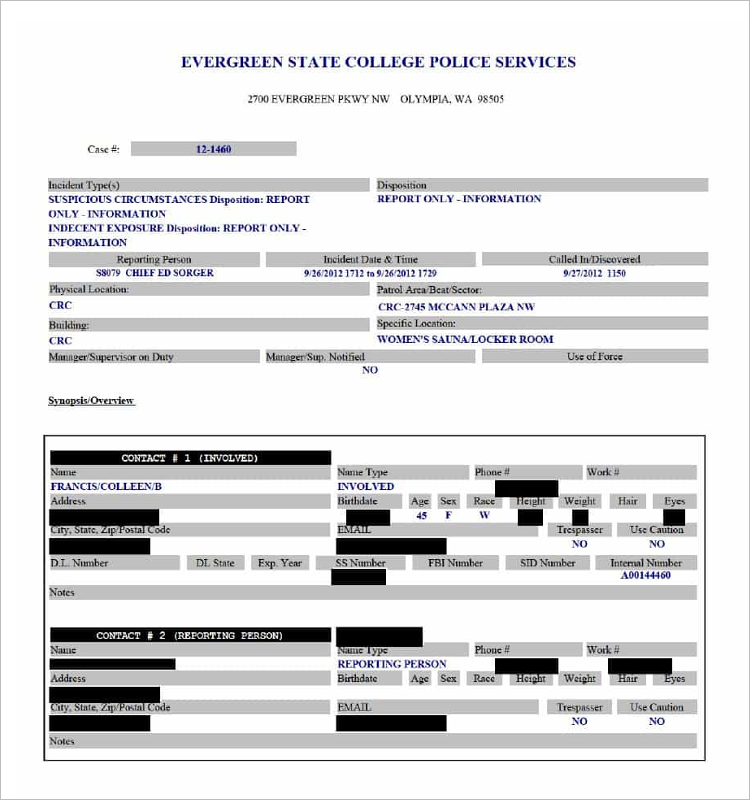 Police Service Form Template