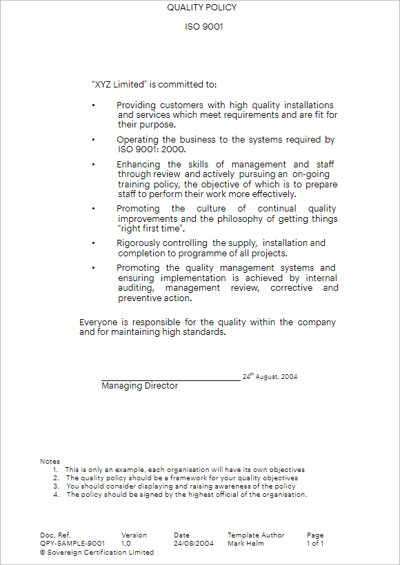 Policy & Procedure Template For Small Business