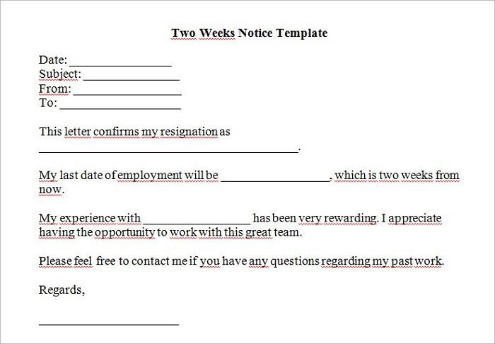 premium two week notice template - All About The Two Weeks Notice Letter