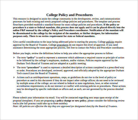premium-college-policy-procedure-templates