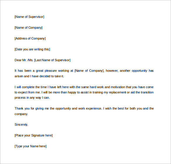 professional-two-weeks-notice-templates