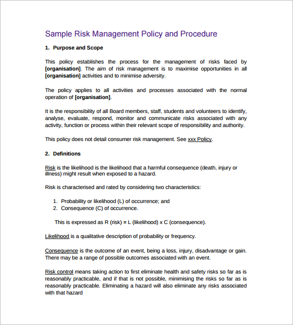 Policy And Procedure Templates - Word & Pdf Download | Creative