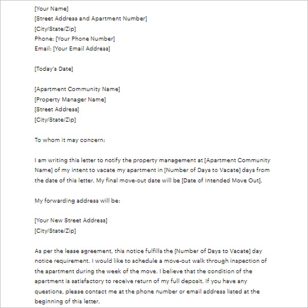 sample 2 weeks notice letter