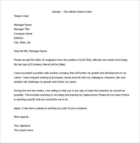 sample two weeks notice templates