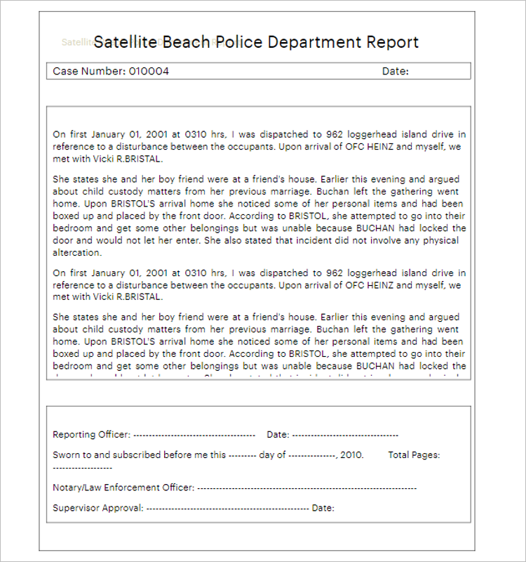 Simple Report Form For Police