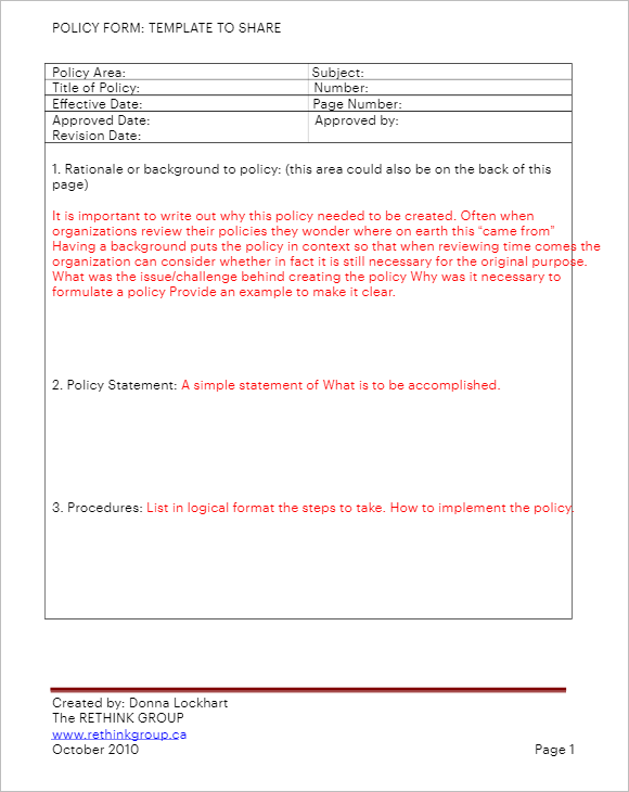 Standard Policy & Procedure Template