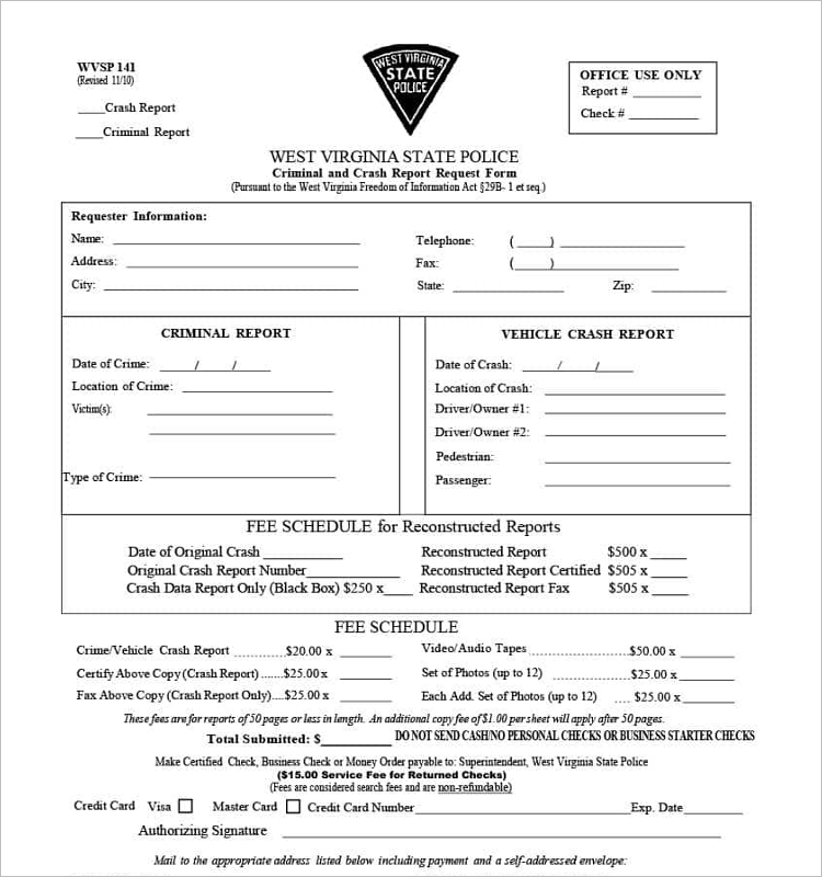 State Police Report Form