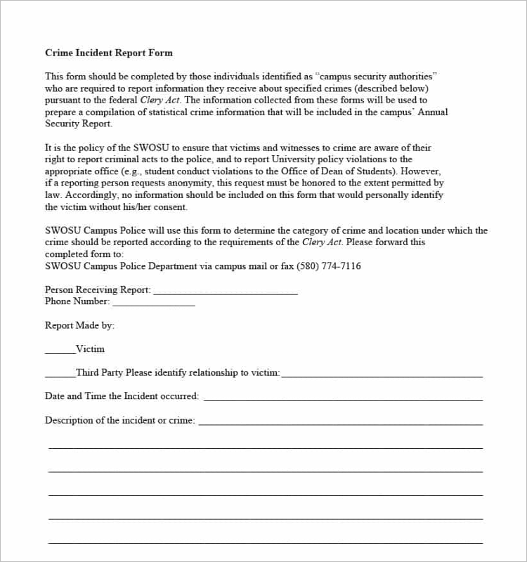 Theft Police Report Template