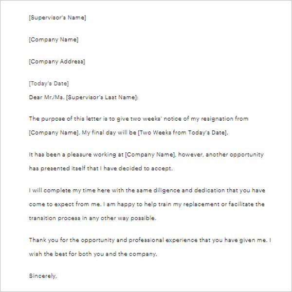 Two Weeks Notice Letter PDF