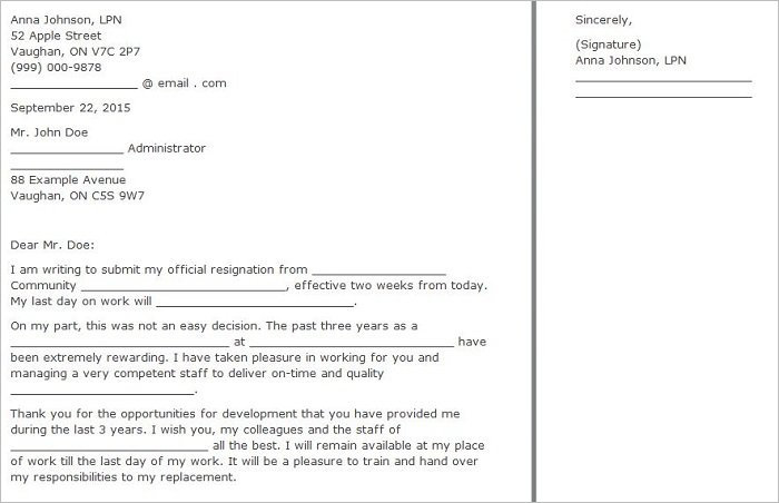 Two Weeks Notice Letter Form Templates ...