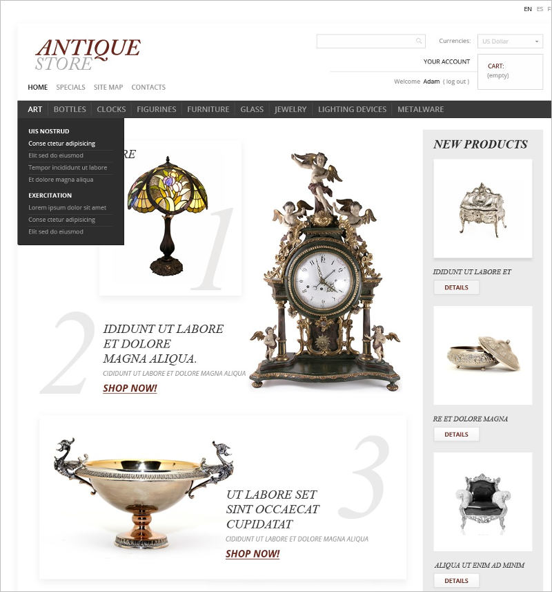 Antique Items World PrestaShop Theme
