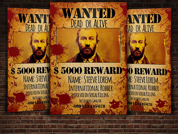 Wanted Flyer Mack Up Template