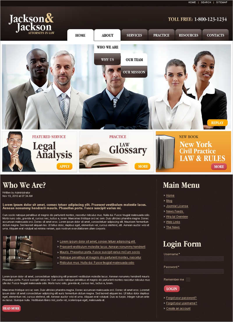colorful Lawyer Joomla Template