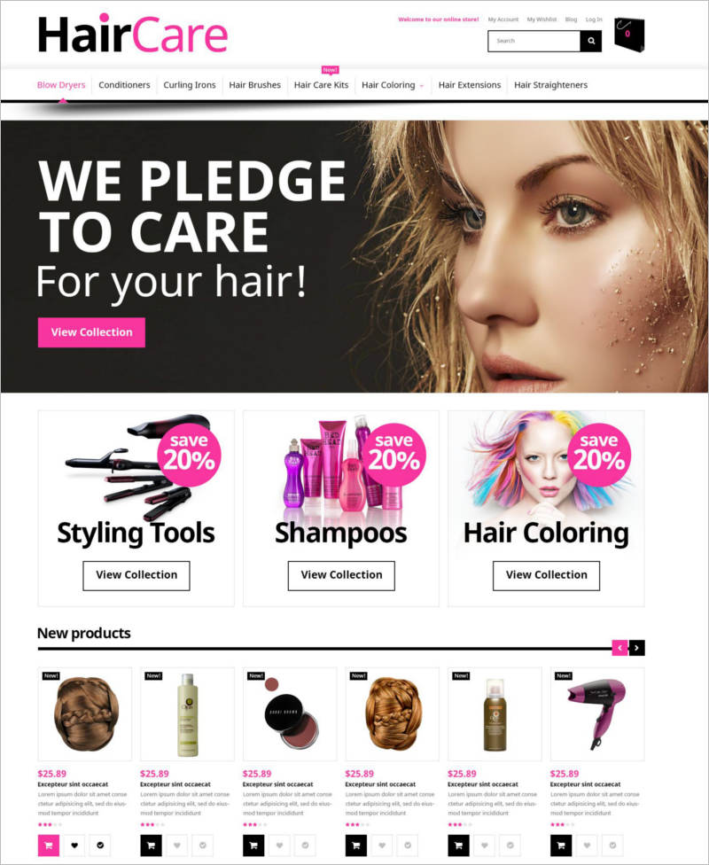 hair care magento theme