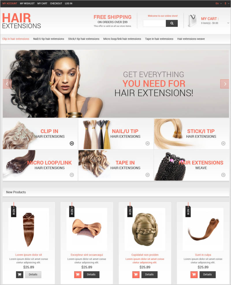 hair salon magento theme for women