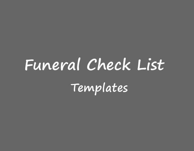 Funeral Checklist Templates