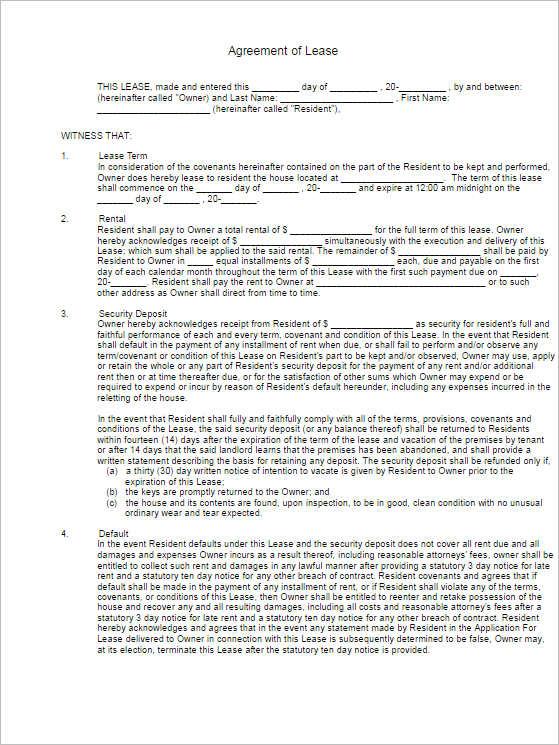 Rental Lease Agreement 282 Free Word PDF Excel Format – Rental Lease Agreement Word Template