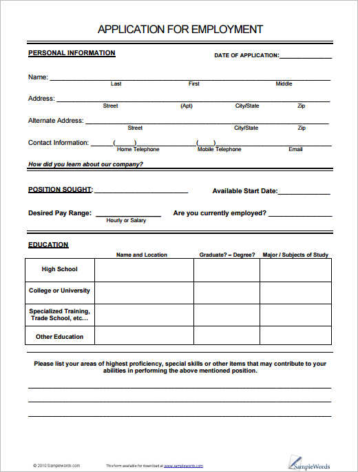 Job Application Form Free Pdf Doc Sample Formats