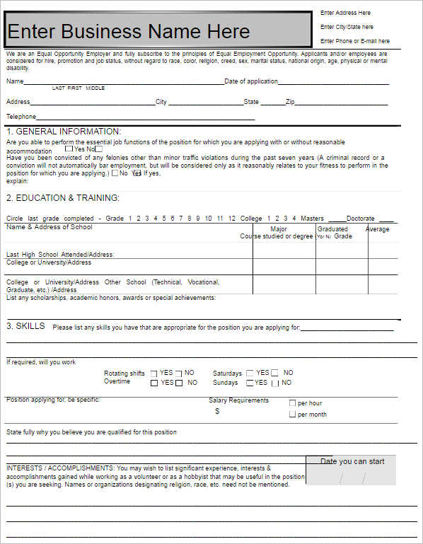 Basic Job Application. Sample Basic Job Application Form Template