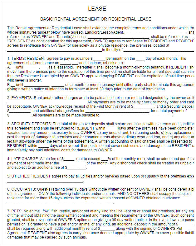 Rental Lease Agreement 282 Free Word PDF Excel Format – Rental Lease Agreements