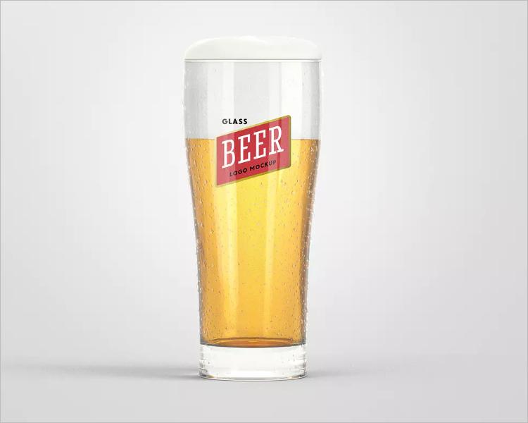 Beer Glass Logo Mockup Design