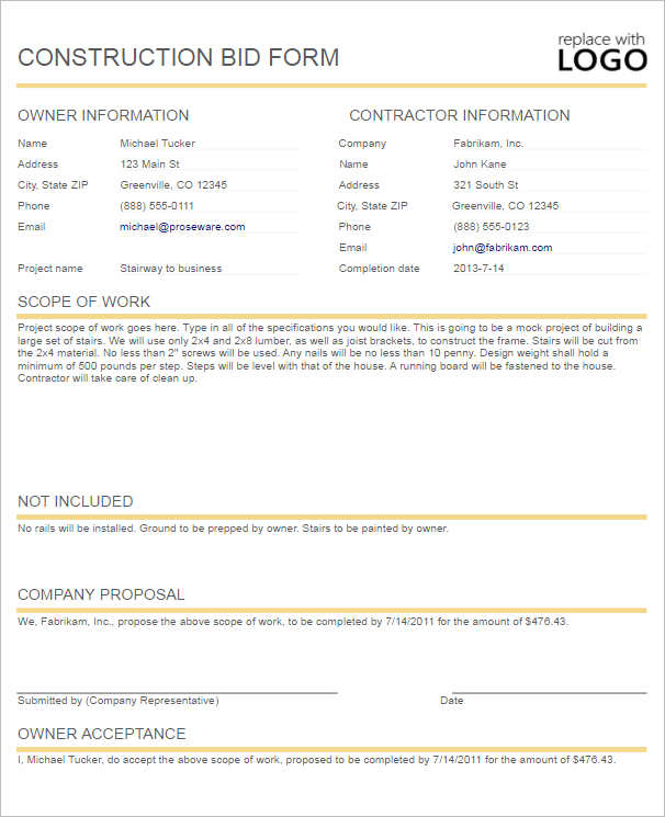 Bid Templates. Construction Bid Form Template | My Blog Business