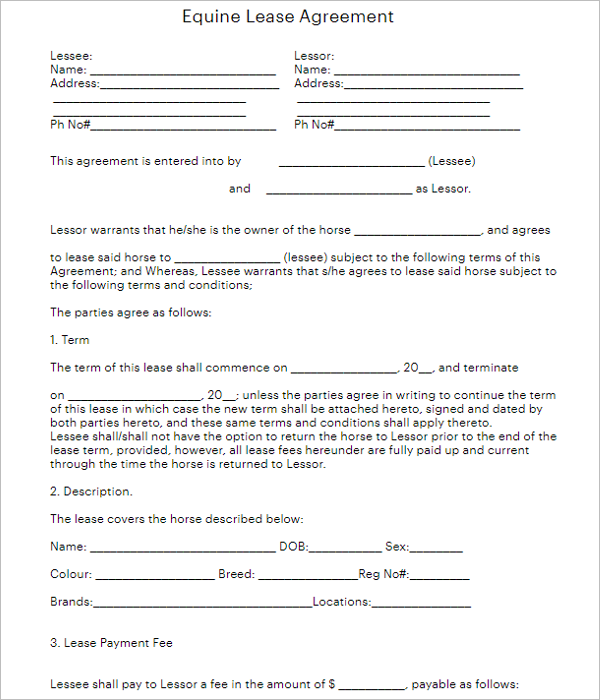Blank Rental Agreement Form
