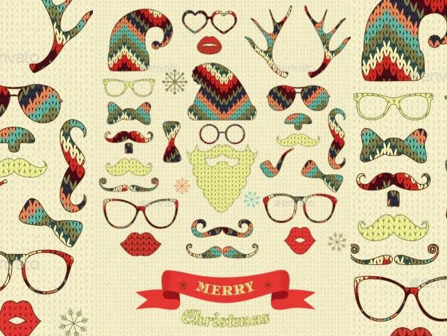christmas-silhouette-set-on-knitting-texture
